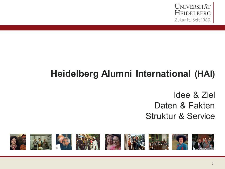 3 Heidelberg Alumni International (HAI) Ziel Etablierung eines funktionierenden globalen Netzwerkes – der HAIsociety – von dem sowohl Alumni als auch die Universität profitieren.