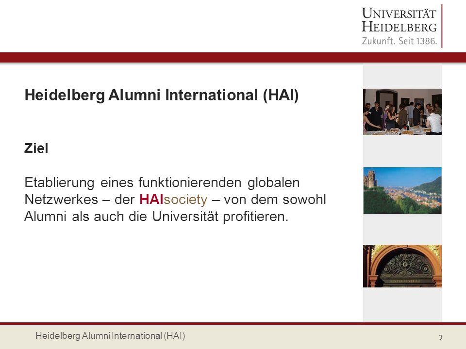 Services für alle in der HAIsociety registrierten Alumni fachliche Alumni-Netzwerke der Institute und Fakultäten regionale Alumni-Netzwerke weltweit Studierende 14 Heidelberg Alumni International (HAI)