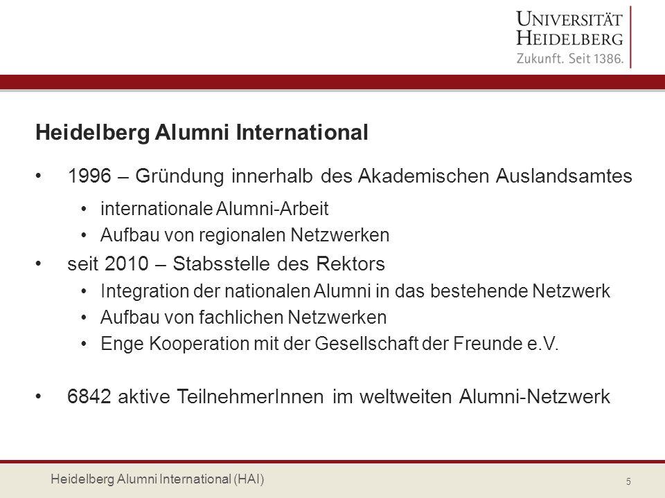 Heidelberg Alumni International 1996 – Gründung innerhalb des Akademischen Auslandsamtes internationale Alumni-Arbeit Aufbau von regionalen Netzwerken