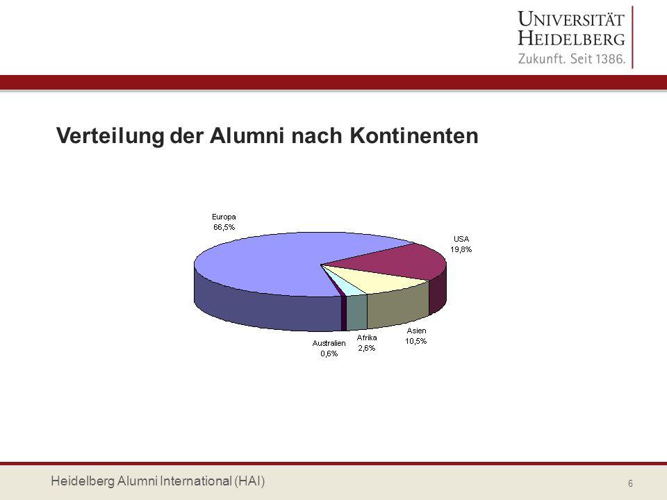 Top Ten Länderverteilung (Wohnort) 7 Heidelberg Alumni International (HAI)