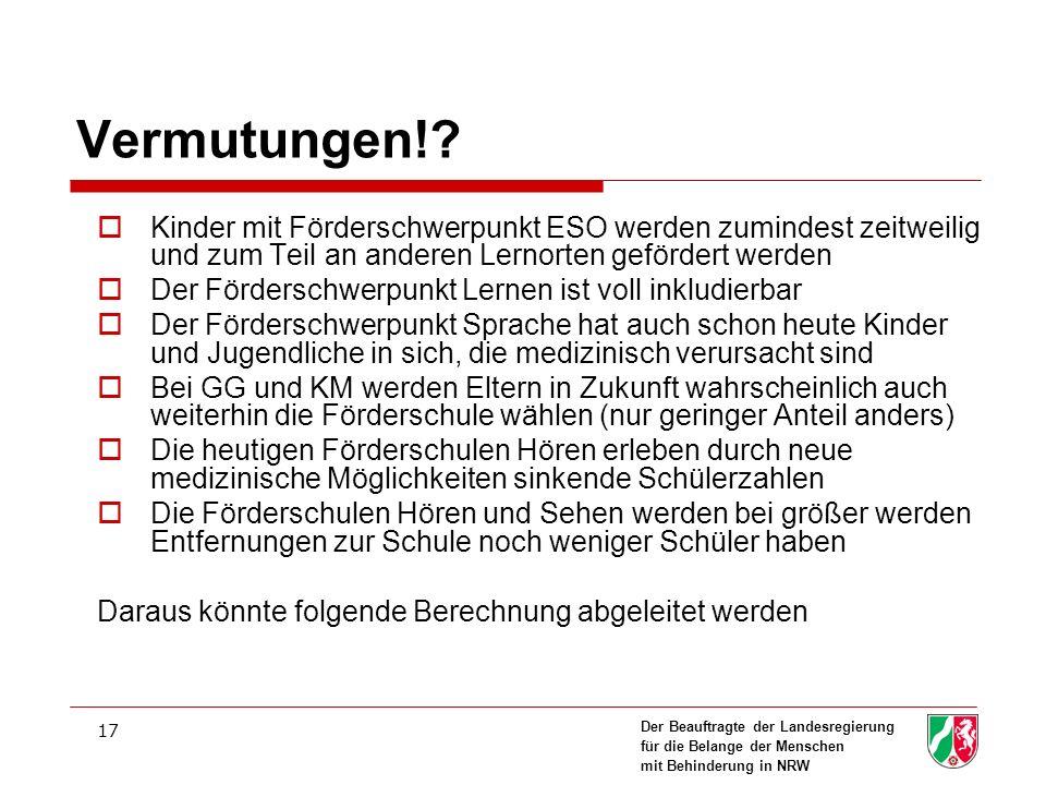 Der Beauftragte der Landesregierung für die Belange der Menschen mit Behinderung in NRW 17 Vermutungen!.