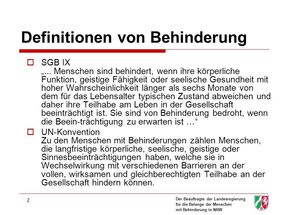 Der Beauftragte der Landesregierung für die Belange der Menschen mit Behinderung in NRW 2 Definitionen von Behinderung SGB IX...