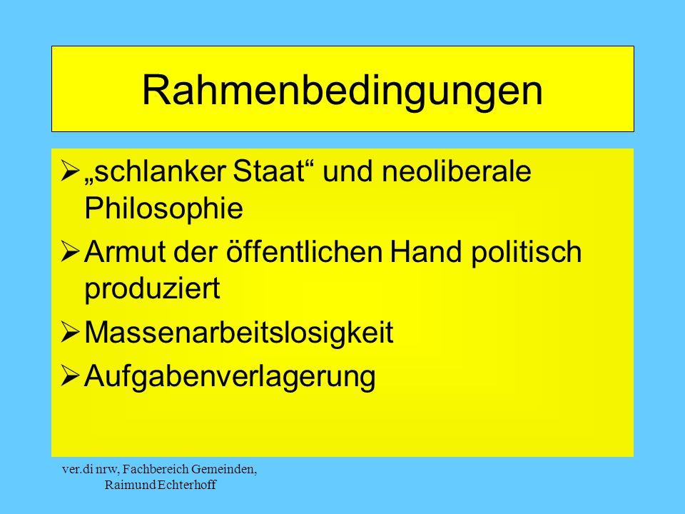 ver.di nrw, Fachbereich Gemeinden, Raimund Echterhoff Rahmenbedingungen schlanker Staat und neoliberale Philosophie Armut der öffentlichen Hand politisch produziert Massenarbeitslosigkeit Aufgabenverlagerung