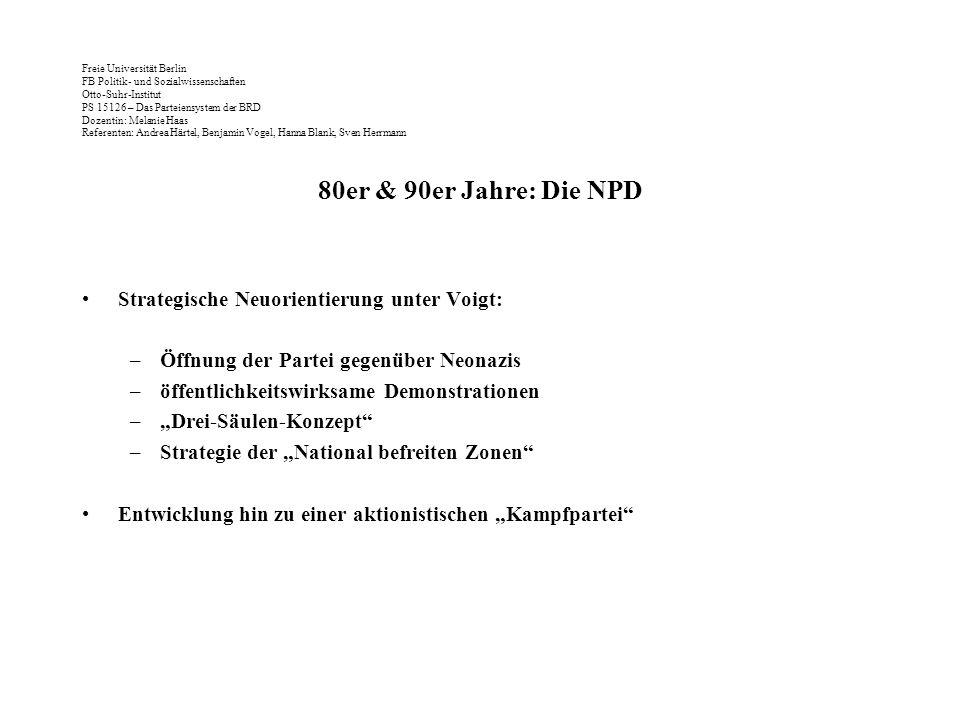 Freie Universität Berlin FB Politik- und Sozialwissenschaften Otto-Suhr-Institut PS 15126 – Das Parteiensystem der BRD Dozentin: Melanie Haas Referent