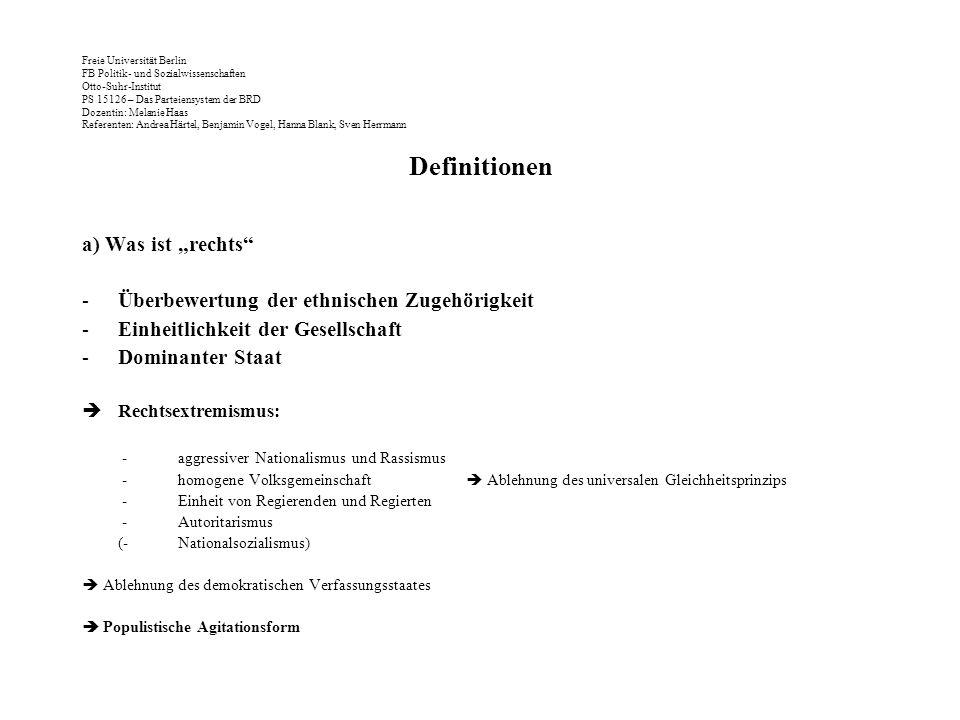 Freie Universität Berlin FB Politik- und Sozialwissenschaften Otto-Suhr-Institut PS 15126 – Das Parteiensystem der BRD Dozentin: Melanie Haas Referenten: Andrea Härtel, Benjamin Vogel, Hanna Blank, Sven Herrmann 80er & 90er Jahre: Die Deutsche Volksunion (DVU) Wahlbündnis mit der NPD ab 1987: nur geringe Erfolge; wird 1990 aufgekündigt Wahlerfolge (durch erheblichen finanziellen Aufwand Freys): –1991 Bremen 6,2% –1992 Schleswig-Holstein 6,3% –1998 Sachsen-Anhalt 12,9% (!)