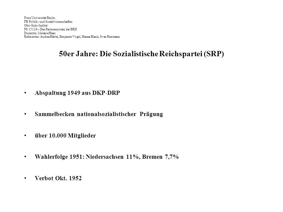Freie Universität Berlin FB Politik- und Sozialwissenschaften Otto-Suhr-Institut PS 15126 – Das Parteiensystem der BRD Dozentin: Melanie Haas Referenten: Andrea Härtel, Benjamin Vogel, Hanna Blank, Sven Herrmann 50er Jahre: Die Sozialistische Reichspartei (SRP) Abspaltung 1949 aus DKP-DRP Sammelbecken nationalsozialistischer Prägung über 10.000 Mitglieder Wahlerfolge 1951: Niedersachsen 11%, Bremen 7,7% Verbot Okt.