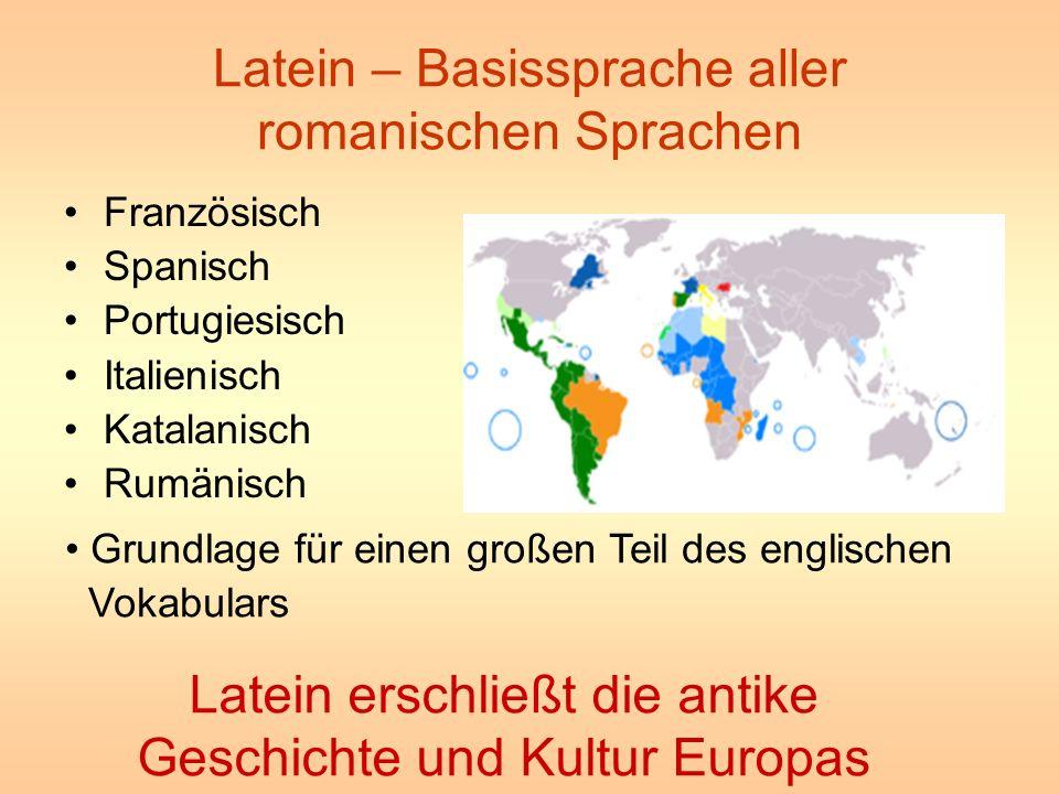 Latein – Basissprache aller romanischen Sprachen Französisch Spanisch Portugiesisch Italienisch Katalanisch Rumänisch Grundlage für einen großen Teil