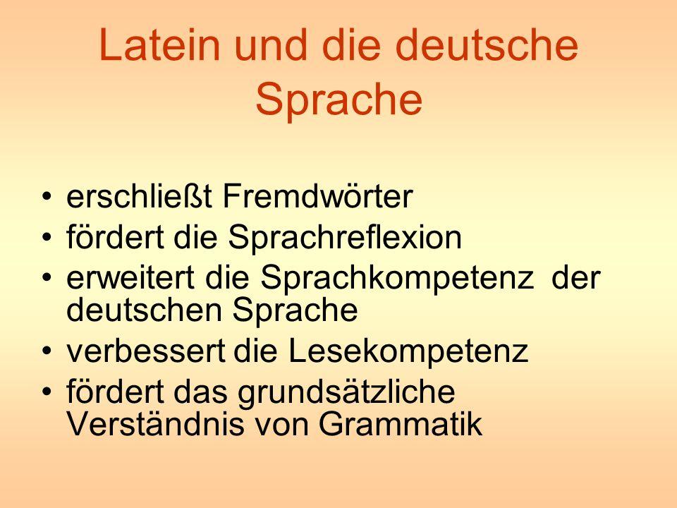Latein und die deutsche Sprache erschließt Fremdwörter fördert die Sprachreflexion erweitert die Sprachkompetenz der deutschen Sprache verbessert die