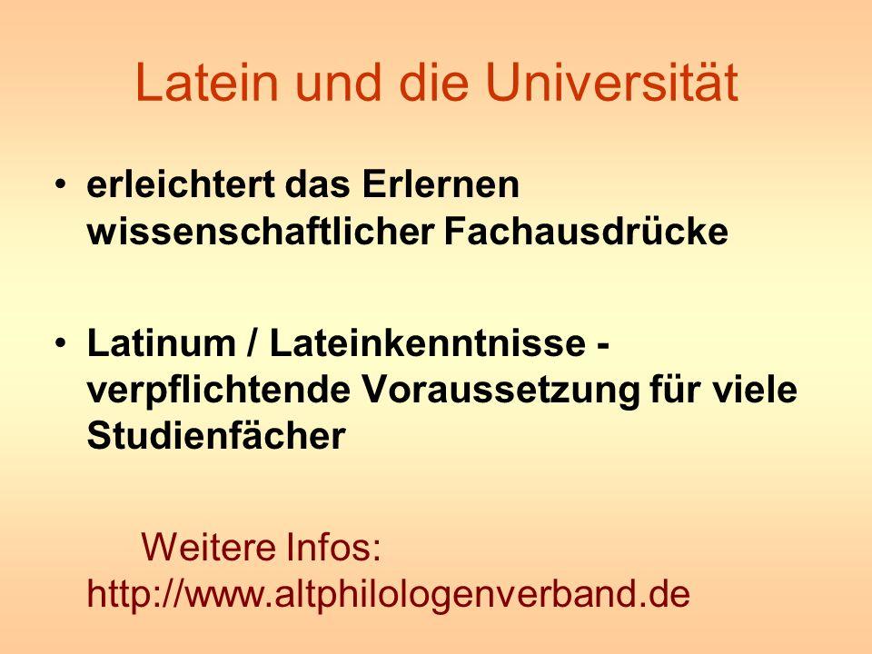 Latein und die Universität erleichtert das Erlernen wissenschaftlicher Fachausdrücke Latinum / Lateinkenntnisse - verpflichtende Voraussetzung für vie