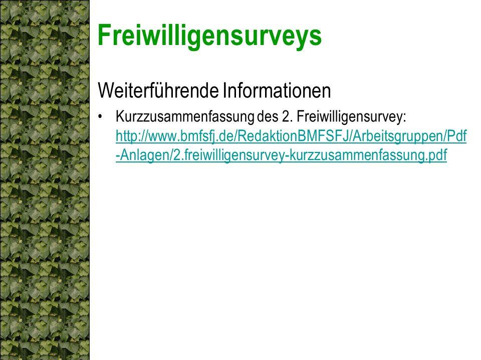 Freiwilligensurveys Weiterführende Informationen Kurzzusammenfassung des 2. Freiwilligensurvey: http://www.bmfsfj.de/RedaktionBMFSFJ/Arbeitsgruppen/Pd