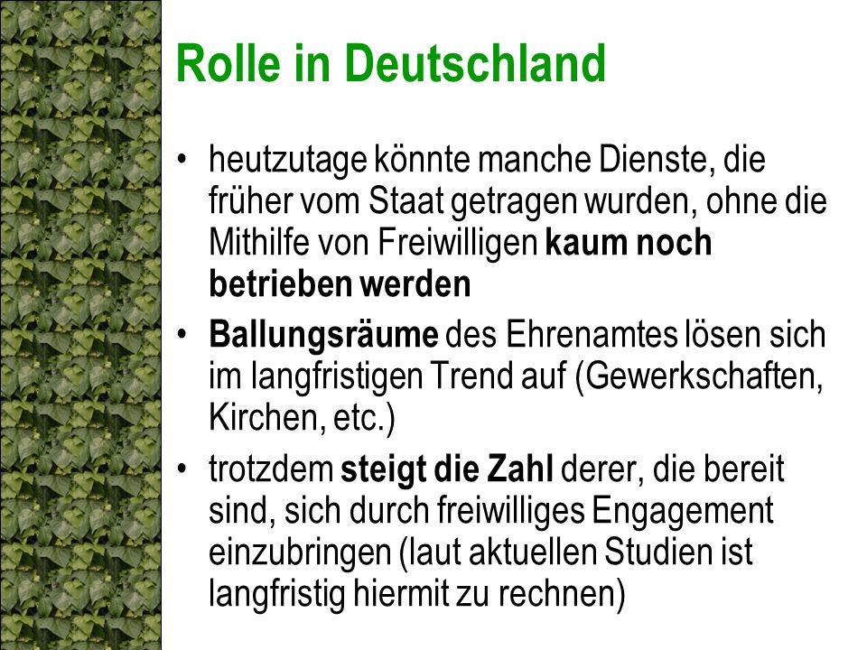 Rolle in Deutschland heutzutage könnte manche Dienste, die früher vom Staat getragen wurden, ohne die Mithilfe von Freiwilligen kaum noch betrieben we