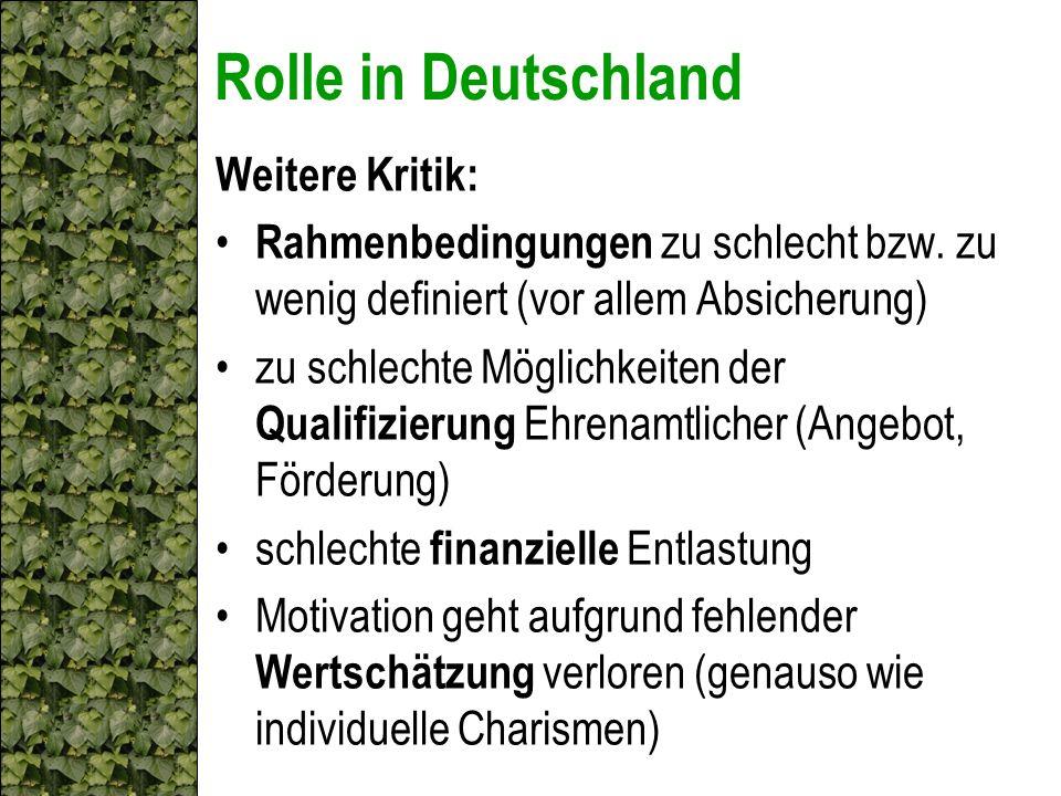 Rolle in Deutschland Weitere Kritik: Rahmenbedingungen zu schlecht bzw. zu wenig definiert (vor allem Absicherung) zu schlechte Möglichkeiten der Qual