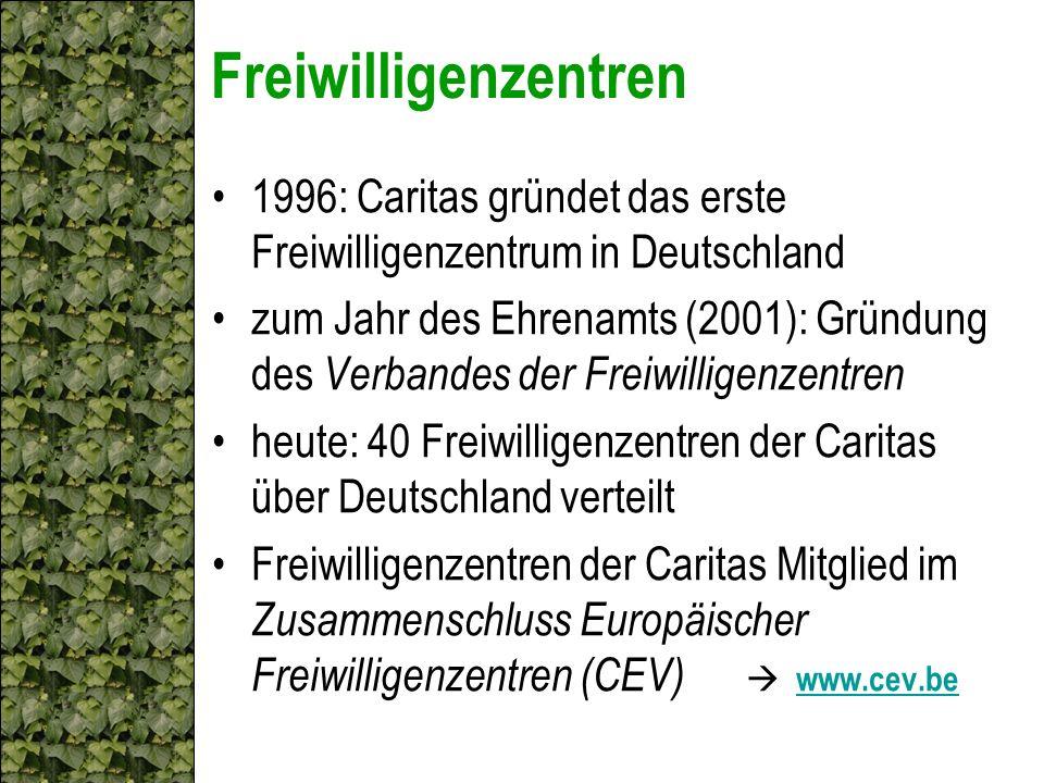Freiwilligenzentren 1996: Caritas gründet das erste Freiwilligenzentrum in Deutschland zum Jahr des Ehrenamts (2001): Gründung des Verbandes der Freiw