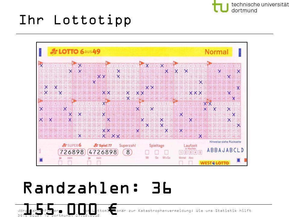 Jörg Rahnenführer Vom Lottomillionär zur Katastrophenvermeidung: Wie uns Statistik hilft DOTS 2012, TU Dortmund, 07.02.2012 Randzahlen: 36 155.000 Ihr