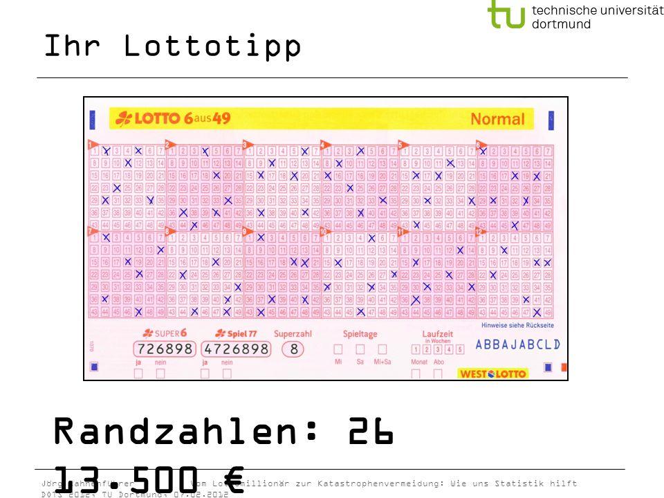 Jörg Rahnenführer Vom Lottomillionär zur Katastrophenvermeidung: Wie uns Statistik hilft DOTS 2012, TU Dortmund, 07.02.2012 Ihr Lottotipp Randzahlen:
