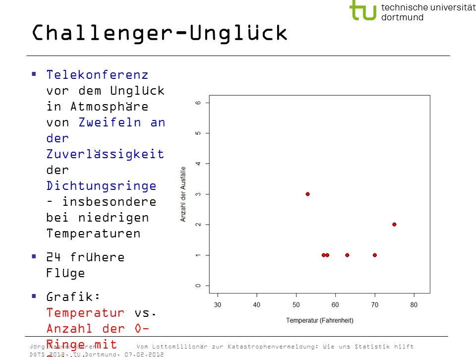 Jörg Rahnenführer Vom Lottomillionär zur Katastrophenvermeidung: Wie uns Statistik hilft DOTS 2012, TU Dortmund, 07.02.2012 Challenger-Unglück Telekon
