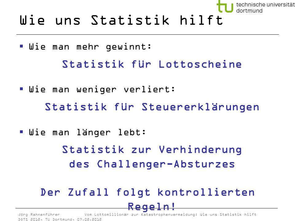 Jörg Rahnenführer Vom Lottomillionär zur Katastrophenvermeidung: Wie uns Statistik hilft DOTS 2012, TU Dortmund, 07.02.2012 Wie uns Statistik hilft Wi