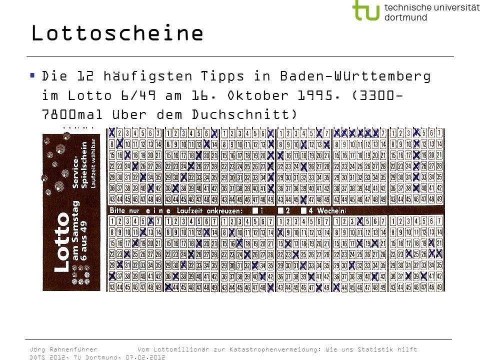 Jörg Rahnenführer Vom Lottomillionär zur Katastrophenvermeidung: Wie uns Statistik hilft DOTS 2012, TU Dortmund, 07.02.2012 Lottoscheine Die 12 häufig