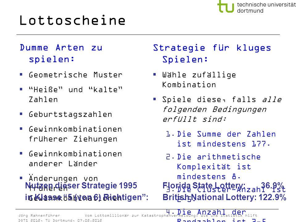 Jörg Rahnenführer Vom Lottomillionär zur Katastrophenvermeidung: Wie uns Statistik hilft DOTS 2012, TU Dortmund, 07.02.2012 Lottoscheine Dumme Arten z