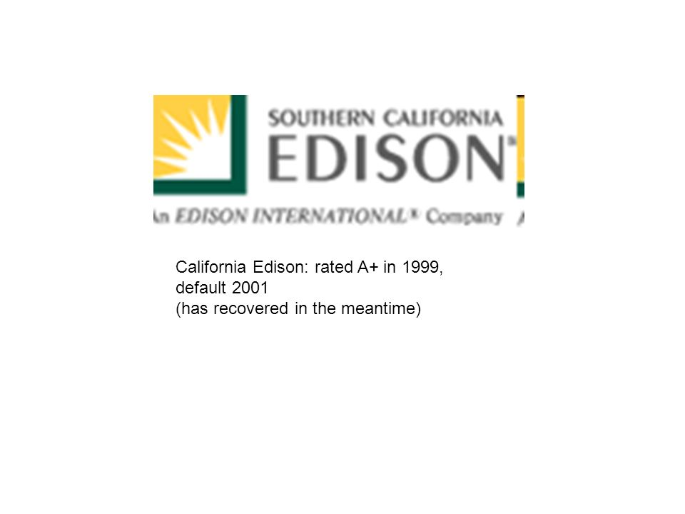 California Edison: rated A+ in 1999, default 2001 (has recovered in the meantime)