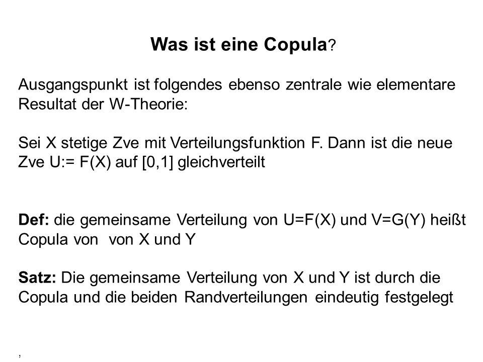 Was ist eine Copula ? Ausgangspunkt ist folgendes ebenso zentrale wie elementare Resultat der W-Theorie: Sei X stetige Zve mit Verteilungsfunktion F.