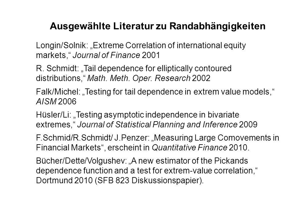 Ausgewählte Literatur zu Randabhängigkeiten Longin/Solnik: Extreme Correlation of international equity markets, Journal of Finance 2001 R. Schmidt: Ta