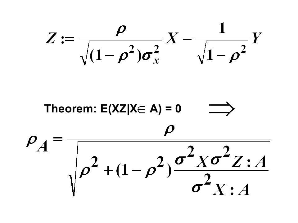 Theorem: E(XZ XA) = 0