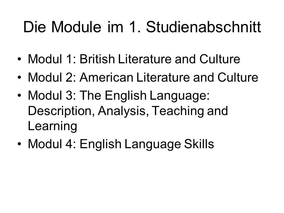 Die Module im 1. Studienabschnitt Modul 1: British Literature and Culture Modul 2: American Literature and Culture Modul 3: The English Language: Desc