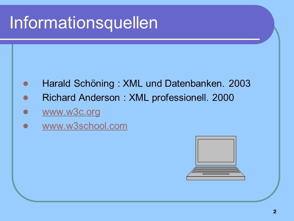 2 Informationsquellen Harald Schöning : XML und Datenbanken.