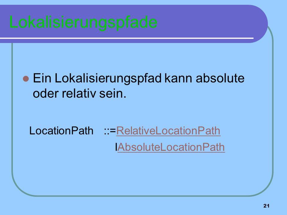 21 Lokalisierungspfade Ein Lokalisierungspfad kann absolute oder relativ sein.