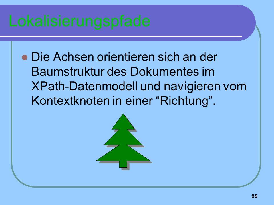 25 Lokalisierungspfade Die Achsen orientieren sich an der Baumstruktur des Dokumentes im XPath-Datenmodell und navigieren vom Kontextknoten in einer Richtung.
