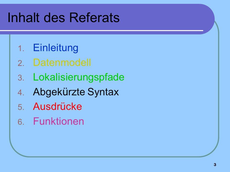 3 Inhalt des Referats 1. Einleitung 2. Datenmodell 3.