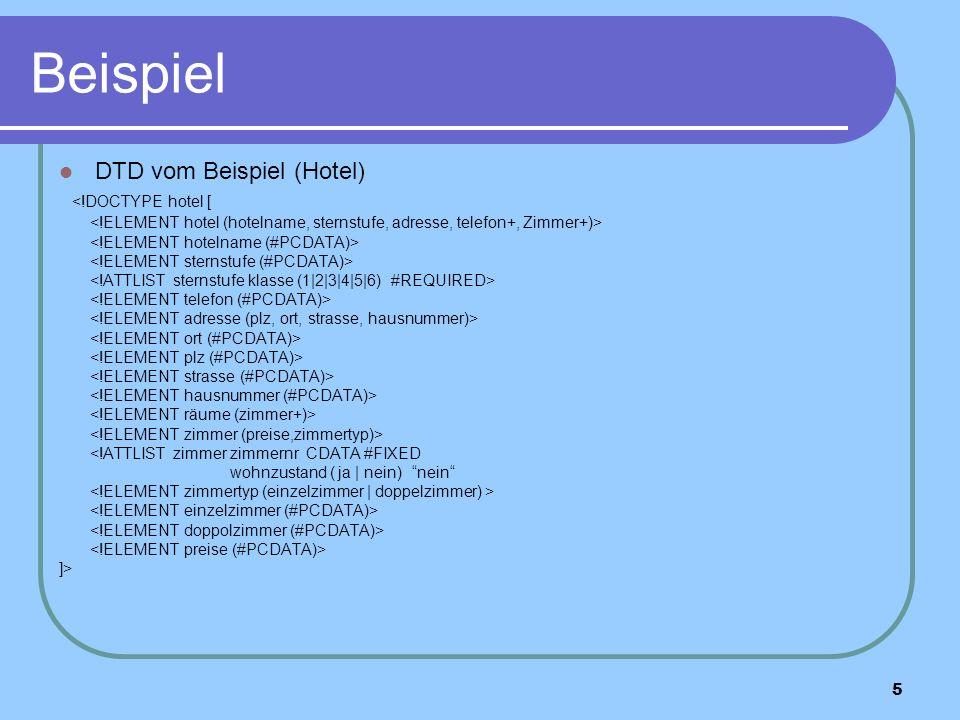 5 Beispiel DTD vom Beispiel (Hotel) <!DOCTYPE hotel [ <!ATTLIST zimmer zimmernr CDATA #FIXED wohnzustand ( ja | nein) nein ]>