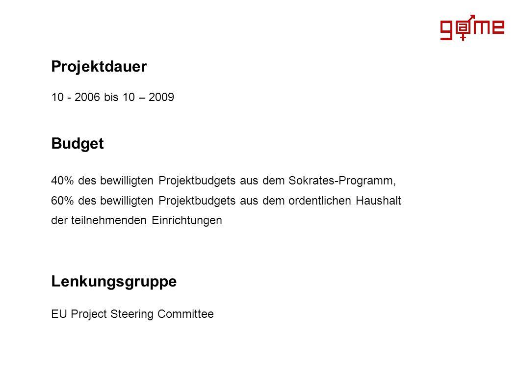 Projektdauer 10 - 2006 bis 10 – 2009 Budget 40% des bewilligten Projektbudgets aus dem Sokrates-Programm, 60% des bewilligten Projektbudgets aus dem o