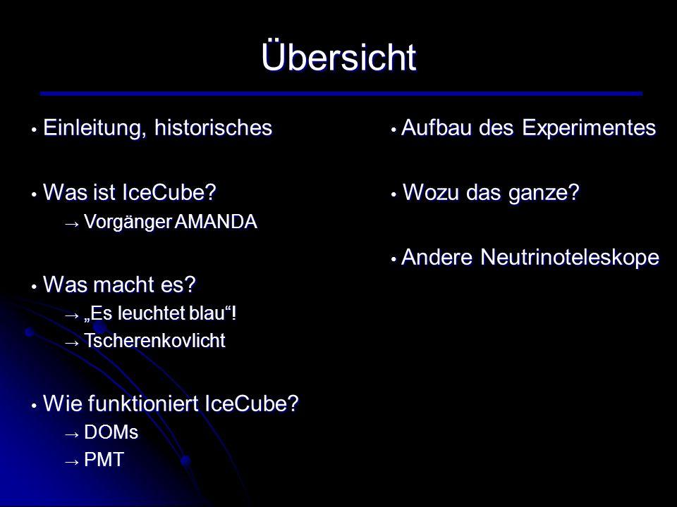 Übersicht Einleitung, historisches Einleitung, historisches Was ist IceCube? Was ist IceCube? Vorgänger AMANDA Vorgänger AMANDA Was macht es? Was mach