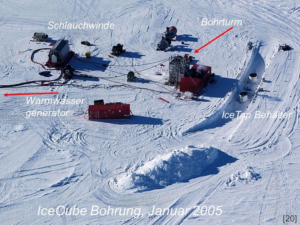 IceCube Bohrung, Januar 2005 Schlauchwinde Bohrturm IceTop Behälter Warmwasser generator [20]