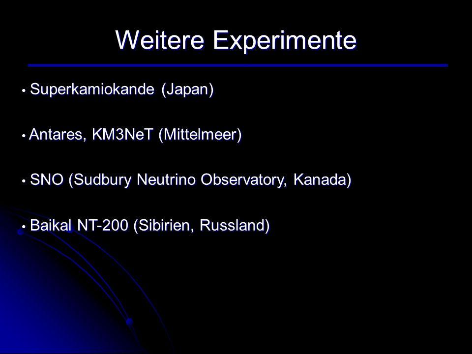 Weitere Experimente Superkamiokande (Japan) Superkamiokande (Japan) Antares, KM3NeT (Mittelmeer) Antares, KM3NeT (Mittelmeer) SNO (Sudbury Neutrino Ob