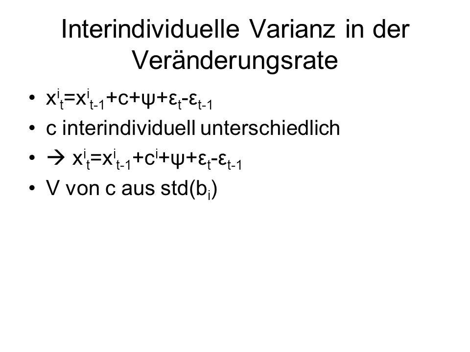 Interindividuelle Varianz in der Veränderungsrate x i t =x i t-1 +c+ψ+ε t -ε t-1 c interindividuell unterschiedlich x i t =x i t-1 +c i +ψ+ε t -ε t-1 V von c aus std(b i )