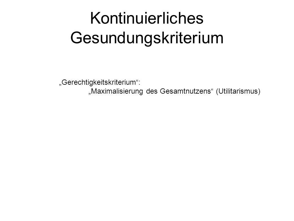 Kontinuierliches Gesundungskriterium Gerechtigkeitskriterium: Maximalisierung des Gesamtnutzens (Utilitarismus)
