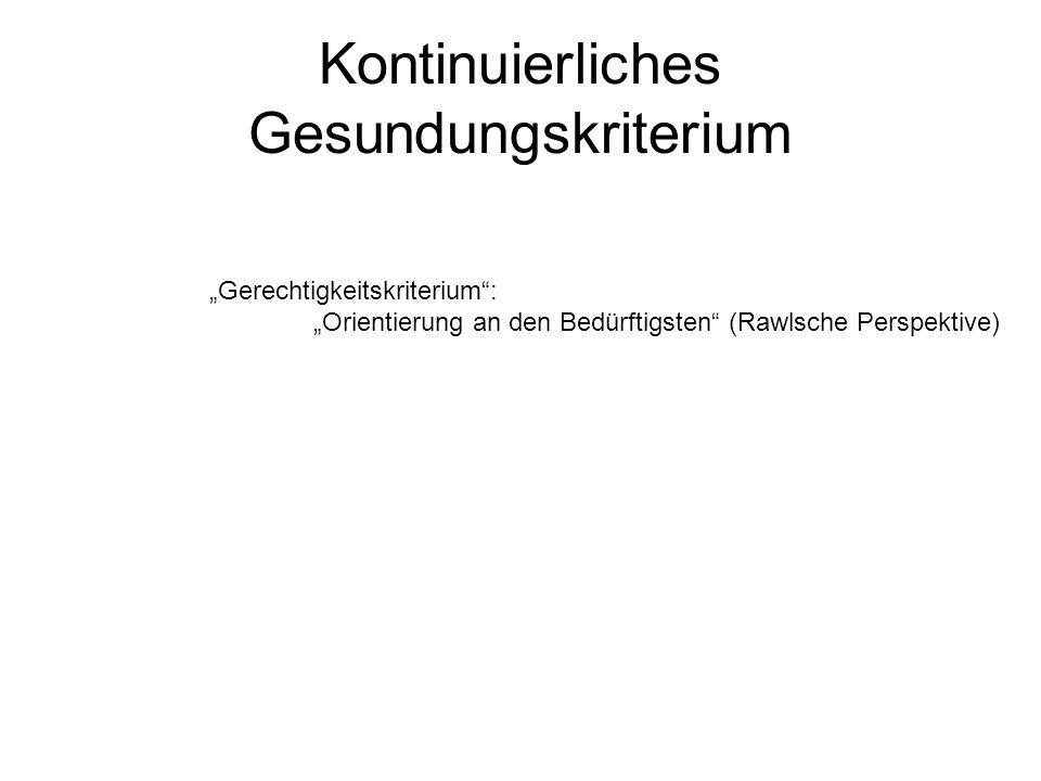 Kontinuierliches Gesundungskriterium Gerechtigkeitskriterium: Orientierung an den Bedürftigsten (Rawlsche Perspektive)