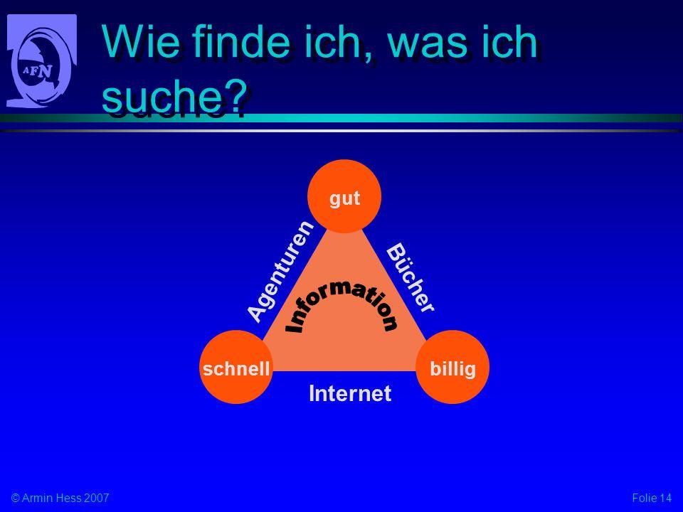 Folie 14© Armin Hess 2007 Wie finde ich, was ich suche? billigschnellgut Bücher Internet Agenturen