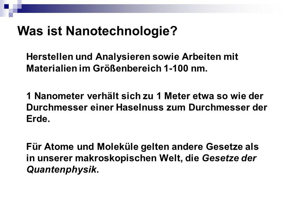 Was ist Nanotechnologie? Herstellen und Analysieren sowie Arbeiten mit Materialien im Größenbereich 1-100 nm. 1 Nanometer verhält sich zu 1 Meter etwa