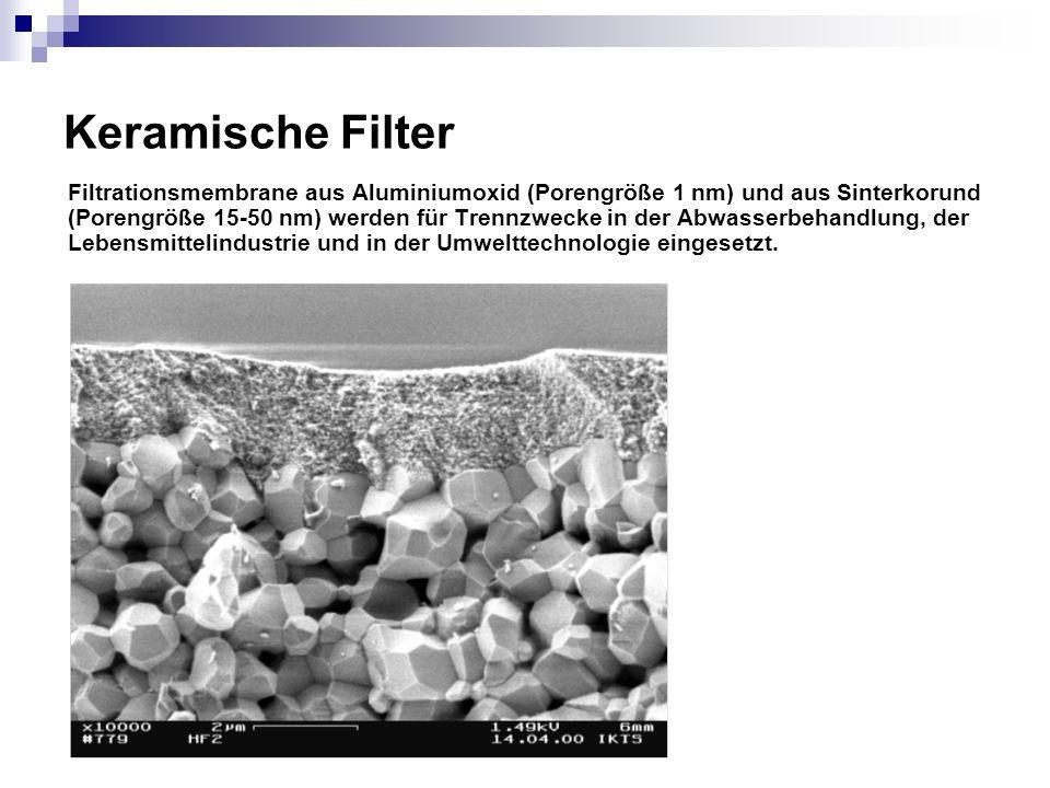 Keramische Filter Filtrationsmembrane aus Aluminiumoxid (Porengröße 1 nm) und aus Sinterkorund (Porengröße 15-50 nm) werden für Trennzwecke in der Abw