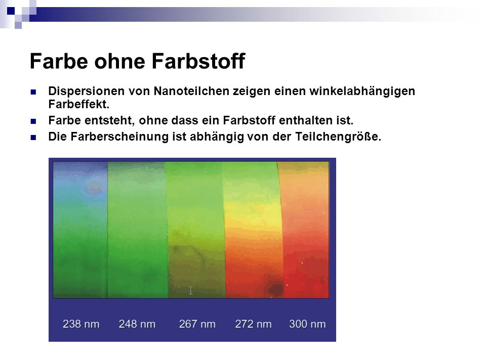 Farbe ohne Farbstoff Dispersionen von Nanoteilchen zeigen einen winkelabhängigen Farbeffekt. Farbe entsteht, ohne dass ein Farbstoff enthalten ist. Di