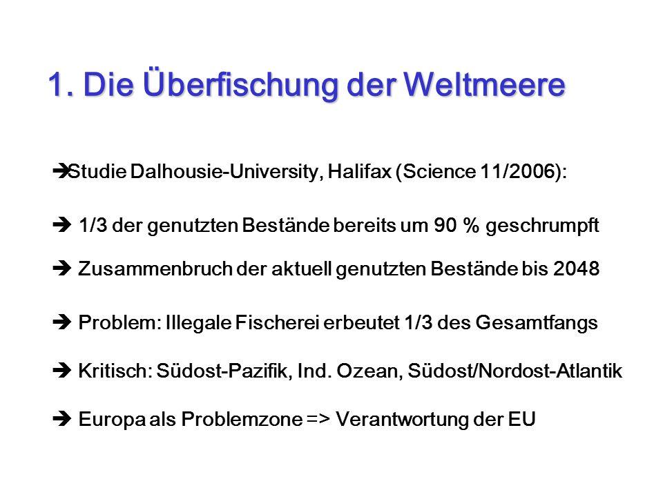Studie Dalhousie-University, Halifax (Science 11/2006): 1/3 der genutzten Bestände bereits um 90 % geschrumpft Zusammenbruch der aktuell genutzten Bes