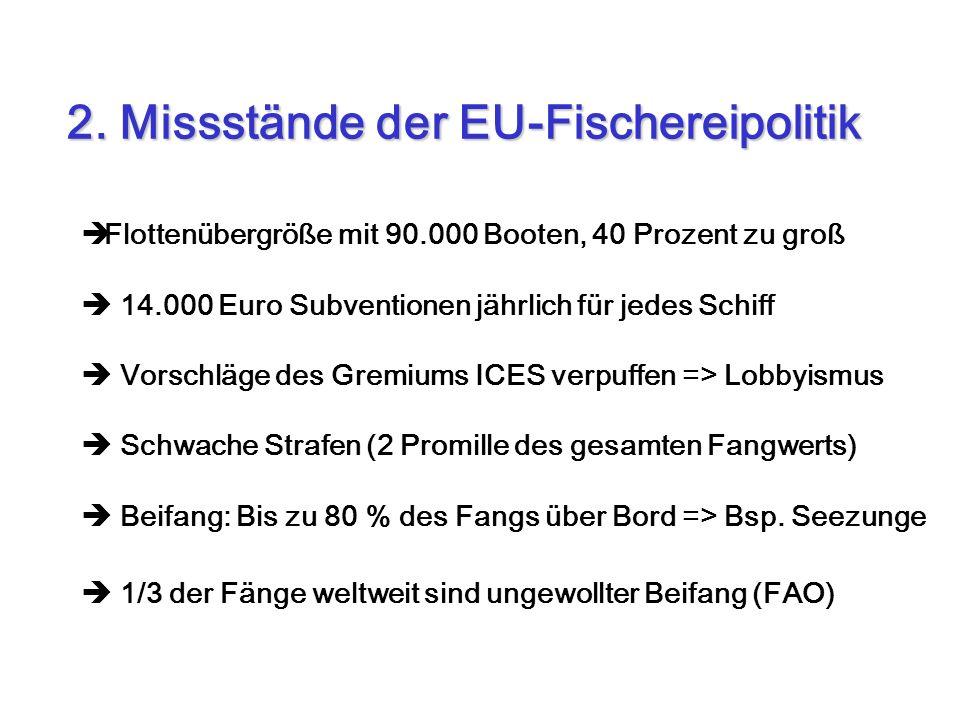 Flottenübergröße mit 90.000 Booten, 40 Prozent zu groß 14.000 Euro Subventionen jährlich für jedes Schiff Vorschläge des Gremiums ICES verpuffen => Lo