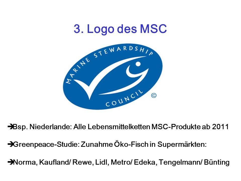 3. Logo des MSC Bsp. Niederlande: Alle Lebensmittelketten MSC-Produkte ab 2011 Greenpeace-Studie: Zunahme Öko-Fisch in Supermärkten: Norma, Kaufland/