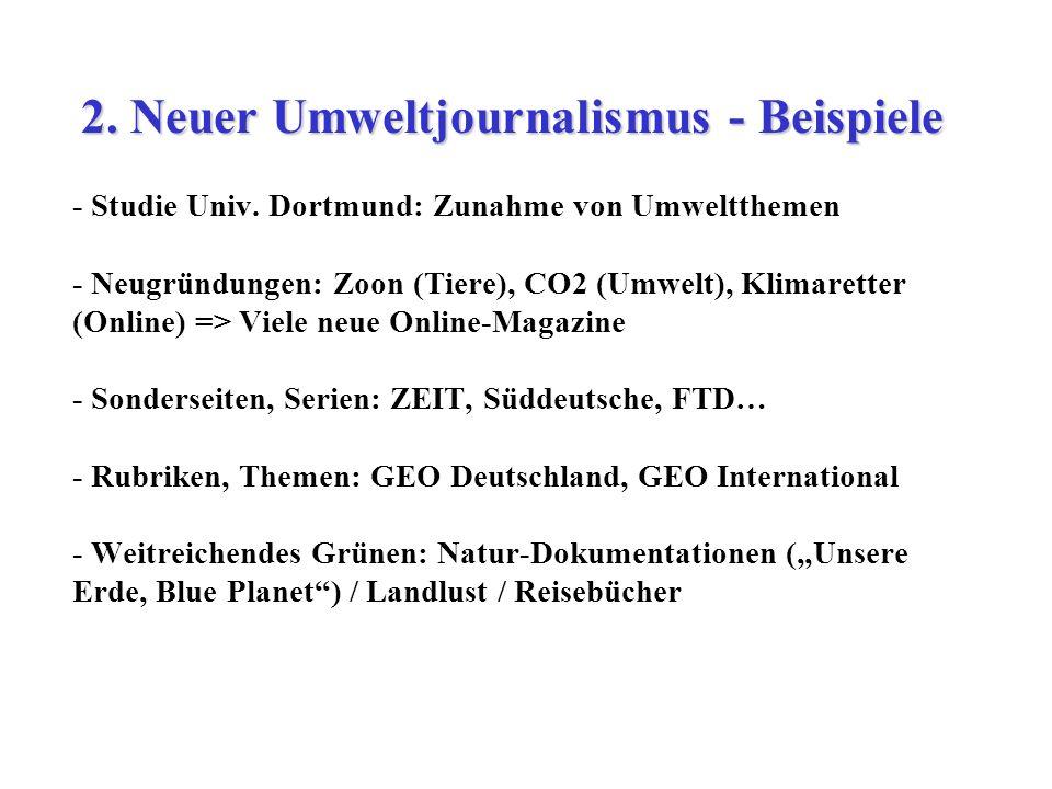 - Studie Univ. Dortmund: Zunahme von Umweltthemen - Neugründungen: Zoon (Tiere), CO2 (Umwelt), Klimaretter (Online) => Viele neue Online-Magazine - So
