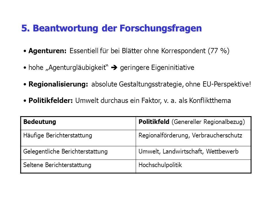 5. Beantwortung der Forschungsfragen BedeutungPolitikfeld (Genereller Regionalbezug) Häufige BerichterstattungRegionalförderung, Verbraucherschutz Gel