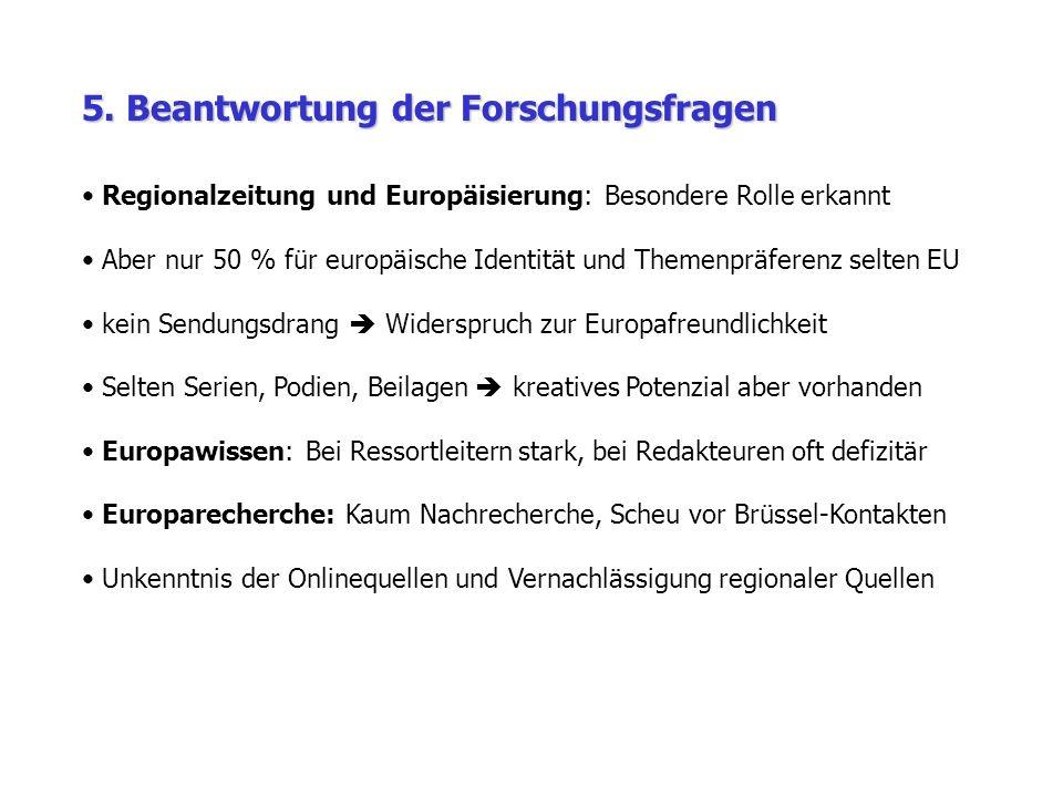 5. Beantwortung der Forschungsfragen Regionalzeitung und Europäisierung: Besondere Rolle erkannt Aber nur 50 % für europäische Identität und Themenprä